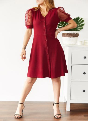 XHAN Tül Detaylı Kaşkorse Elbise 0Yxk6-43579-04 Kırmızı
